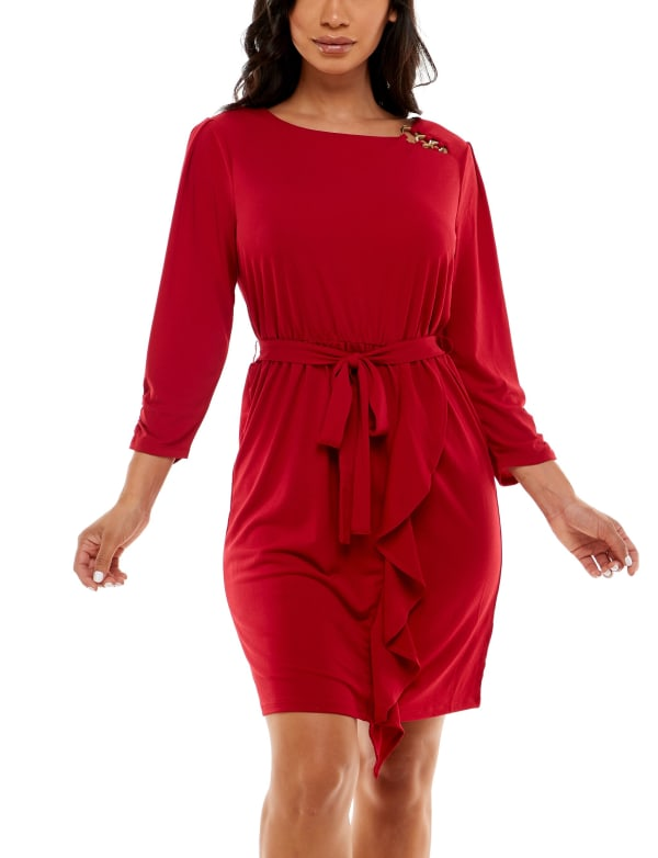 Adrienne Vittadini Asymmetrical Flounce Dress