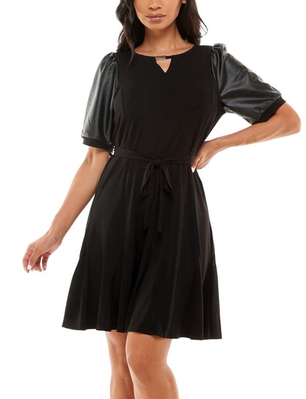 Adrienne Vittadini Faux Leather Puff Sleeve Dress