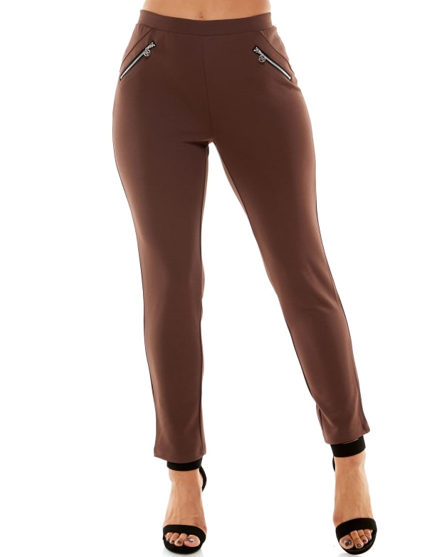 Adrienne Vittadini Pull On With Zipper Detail Pant