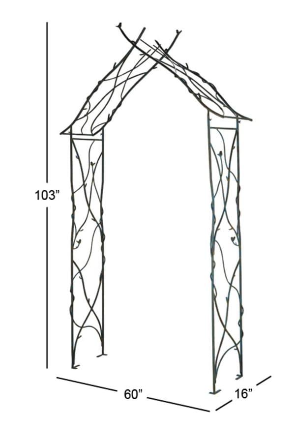 Traditional Black Iron Garden Arbor