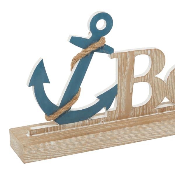 Brown Wood Coastal Decorative Sign