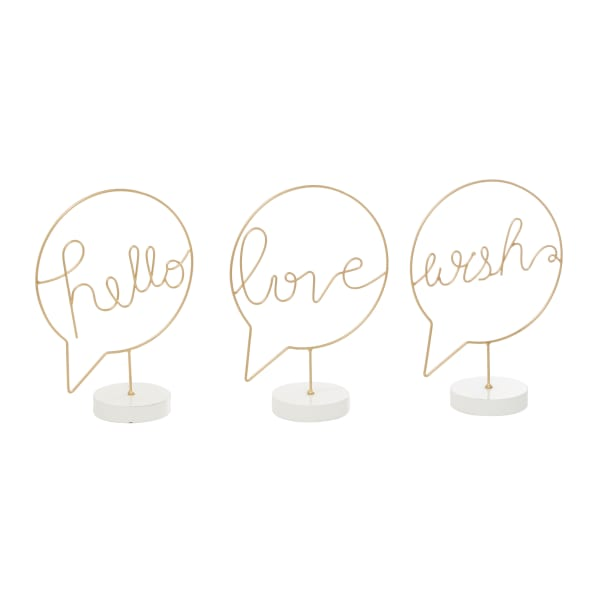 Gold Wood Traditional Set of 3 Decorative Signs