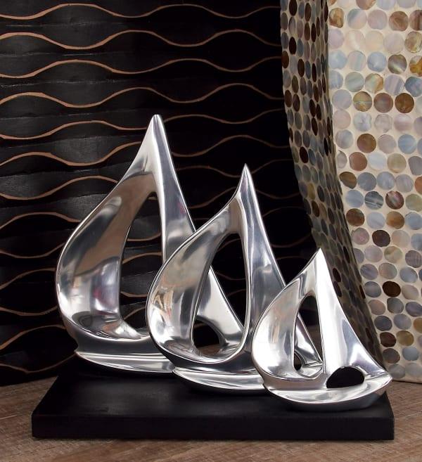 Silver Aluminum Coastal Sail Boat Sculpture