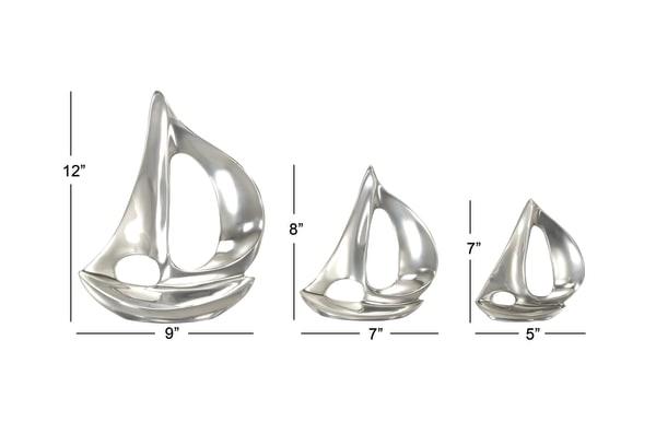 Silver Metal Coastal Sail Boat Set of 3 Sculptures