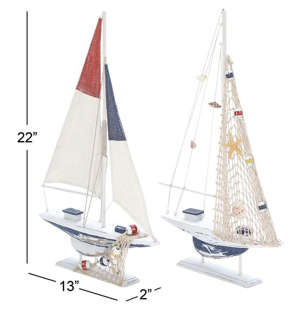 White Wood Coastal Sail Boat Set of 2 Sculptures