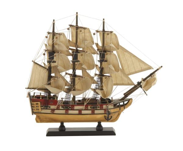 Beige Wood Coastal Sail Boat Sculpture