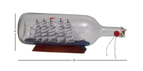 White Glass Coastal Ship in a Bottle Decor