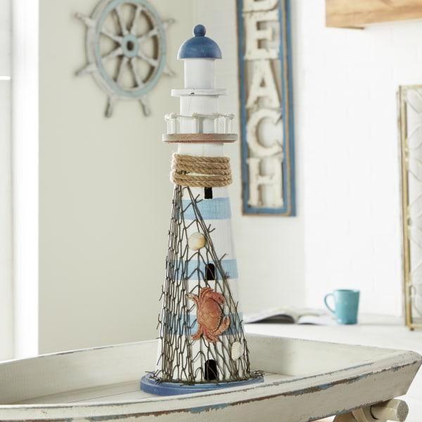White Wood Coastal Lighthouse Sculpture