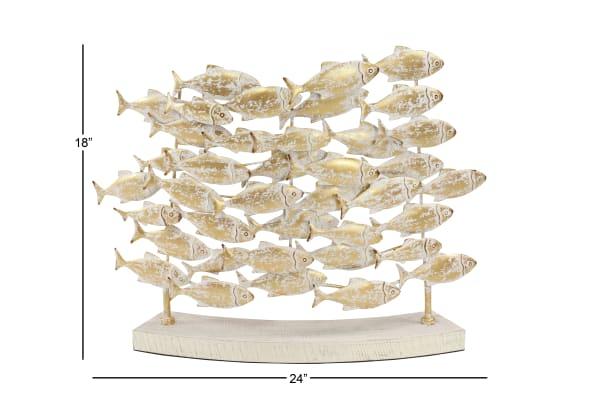 Beige Metal Coastal Fish Sculpture