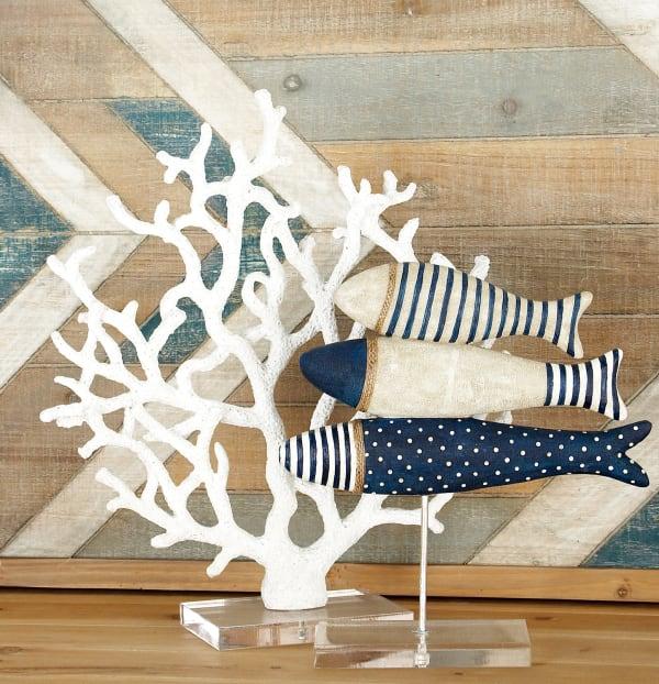 White Polystone Coastal Coral Sculpture