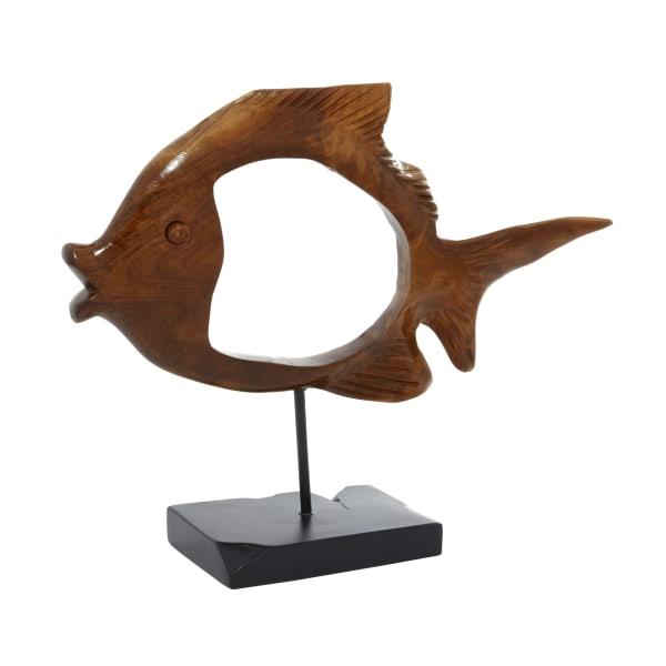 Coastal Brown Wood Nila Fish Sculpture