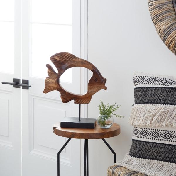 Brown Teak Wood Coastal Fish Sculpture