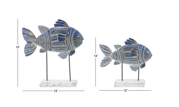 Blue Metal Coastal Fish Set of 2 Sculptures