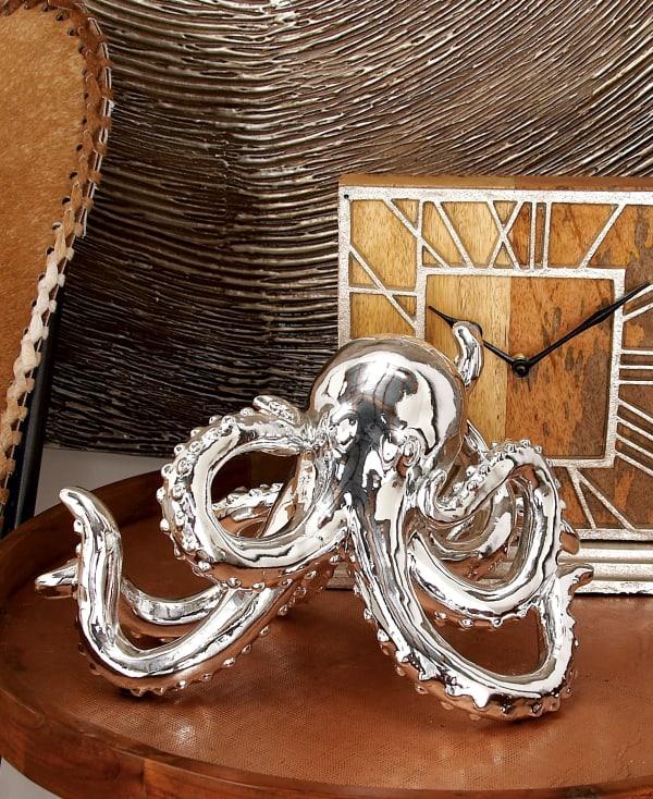 Silver Polystone Coastal Octopus Sculpture
