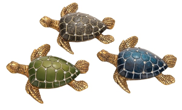 Brown Polystone Coastal Turtle Set of 3 Sculptures