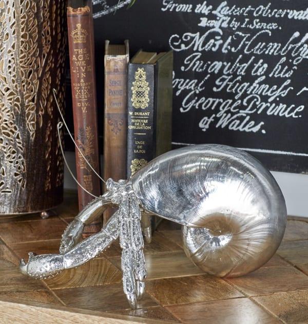 Coastal Silver Polystone Hermit Crab Sculpture