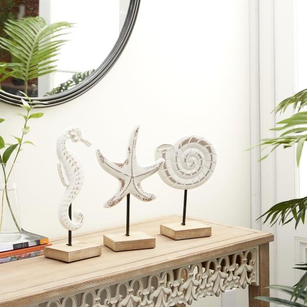 White Plastic Sea Animals Set of 3 Sculptures