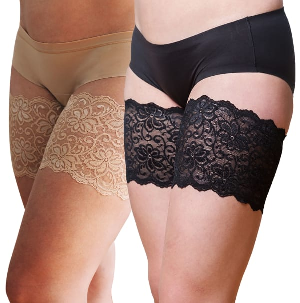 Bandelettes Set Of 2 Elastic Anti-Chafing Lace Thigh Bands - Black/Beige