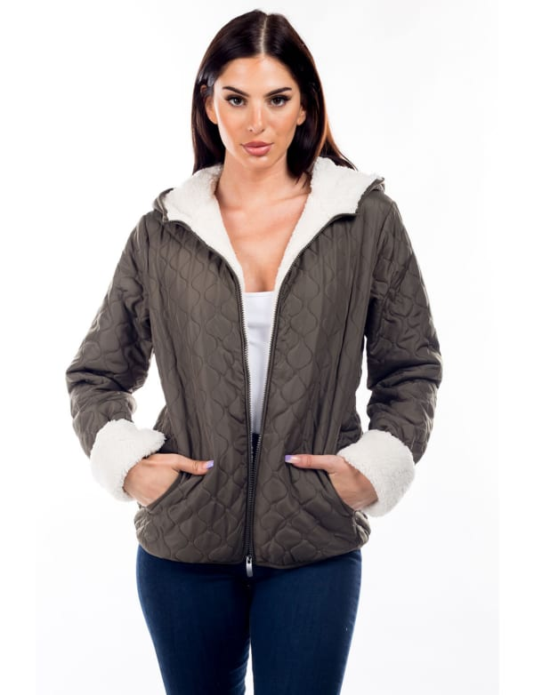 Quilted Hooded Jacket with Sherpa Lining