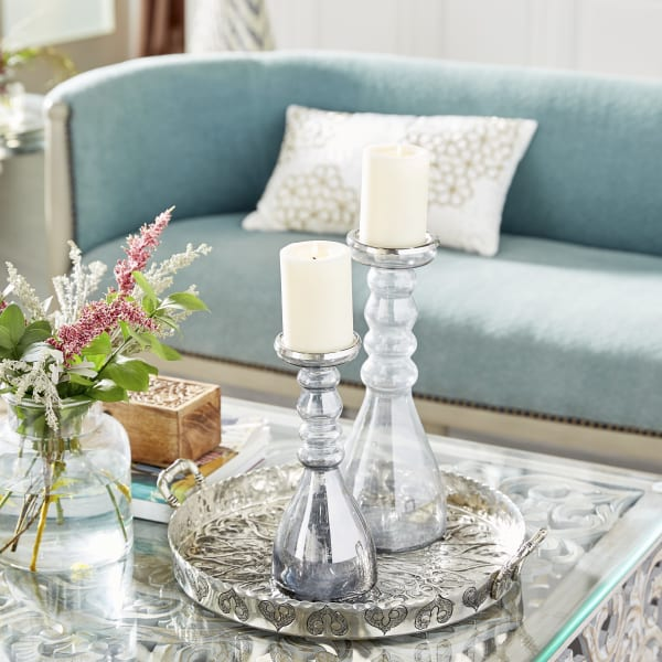 Contemporary Clear Glass  Set of 2 Candle Holders