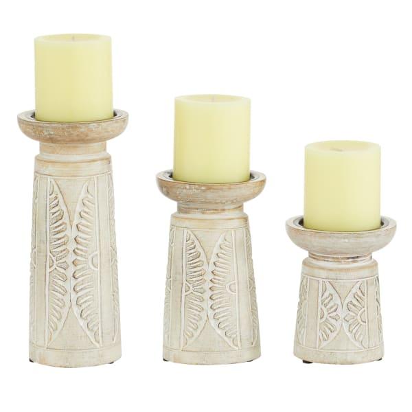 White Mango Wood Natural Set of 3 Candle Holders