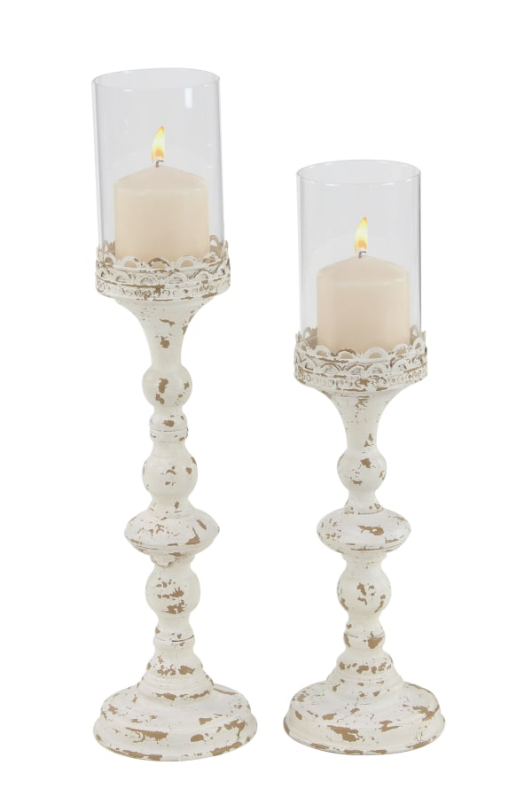 Vintage White Metal Set of 2 Candle Holders