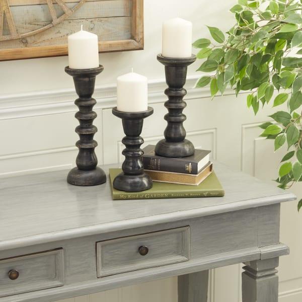 Dark Brown Mango Wood Set of 3  Candle Holders