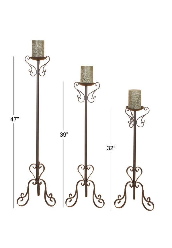 Traditional Black Metal  Set of 3 Candle Holders
