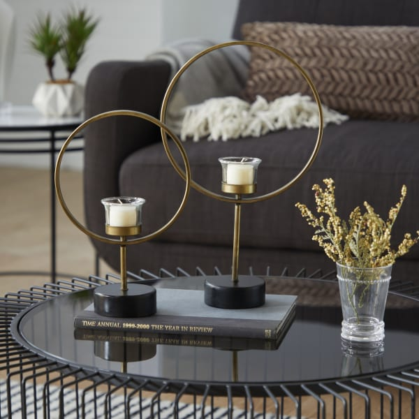 Contemporary  Gold Metal Set of 2 Candle Holders
