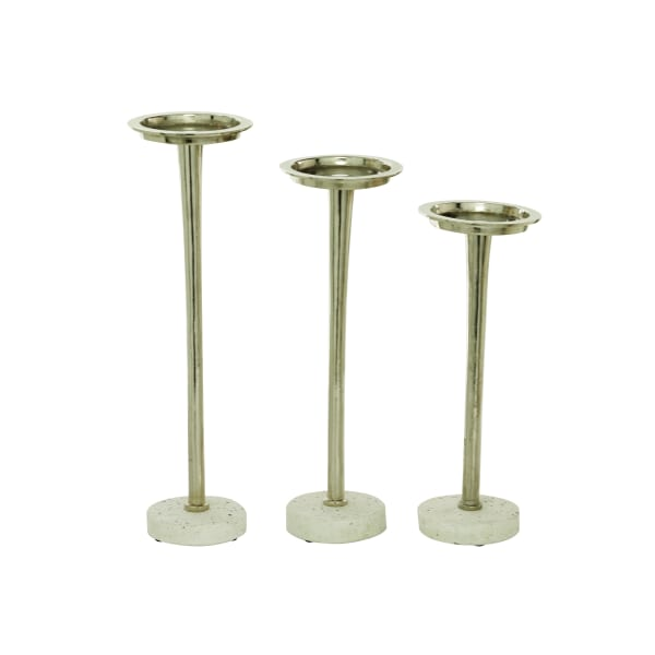 Modern Silver Terrazzo Set of 3  Candle Holders