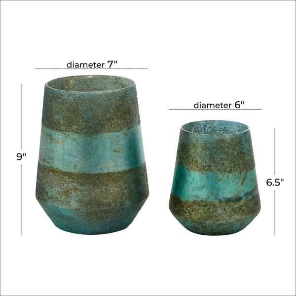 Rustic  Green Glass Set of 2 Candle Holders