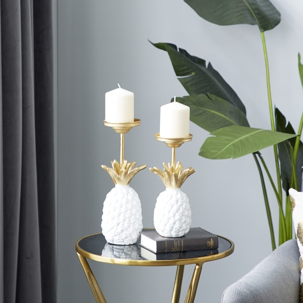 Modern White Metal Set of 2 Candle Holders