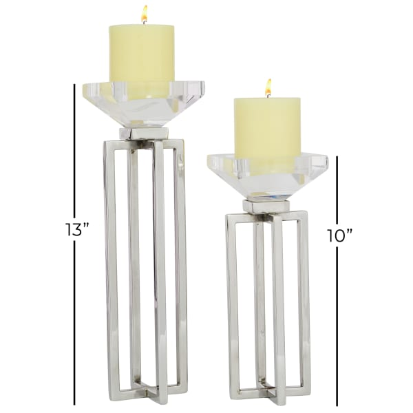 Glam Silver Stainless Steel Set of 2 Candle Holders