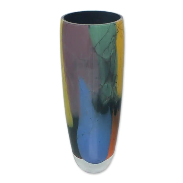 Novica Elegance  Black Rim Handblown Art Glass Vase