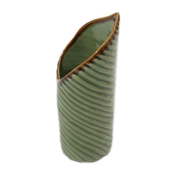 Novica Banana Roll Ceramic Vase