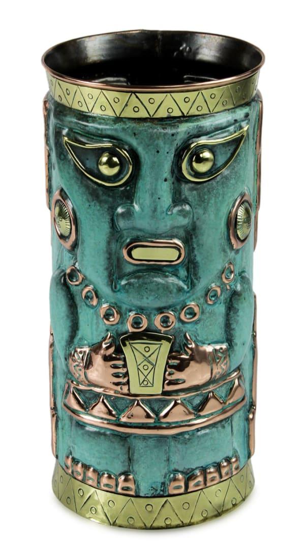 Novica Chimu Deity Copper And Silver Vase