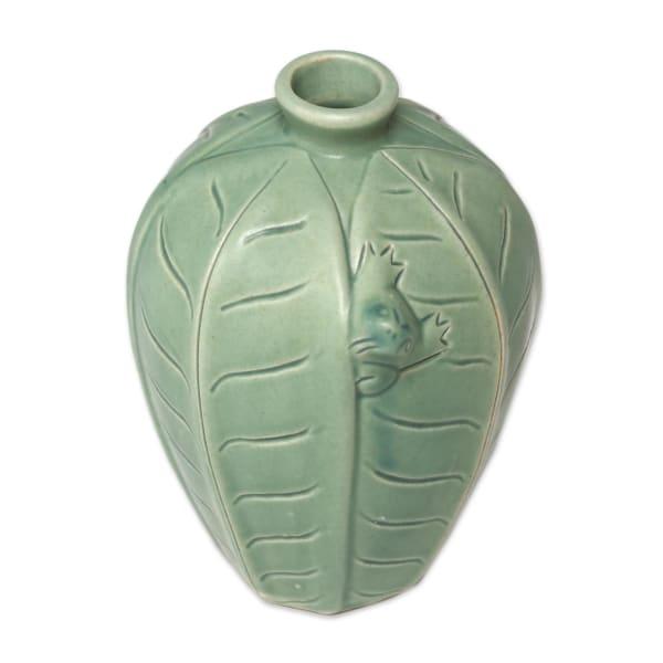 Novica Frangipani Frog Ceramic Vase