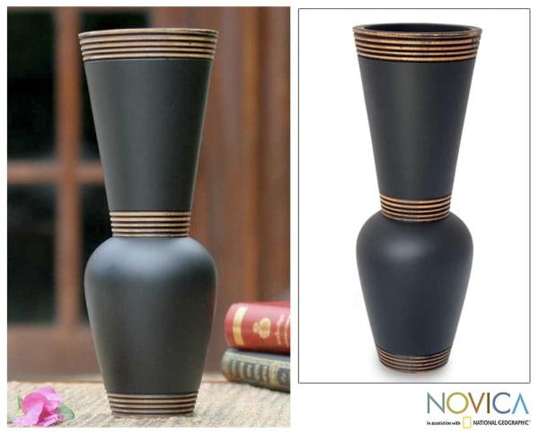 Novica Harmonious Black Mango Wood Vase