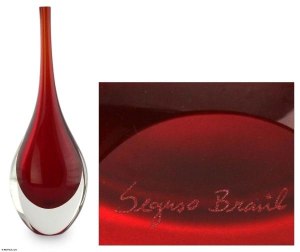 Novica Levitating Scarlet Handblown Art Glass Vase
