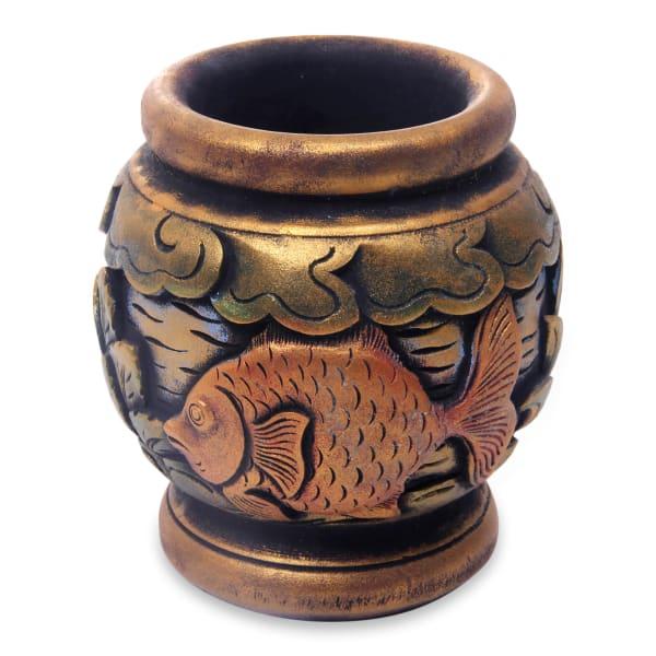 Novica Balinese Goldfish Mahogany Decorative Vase