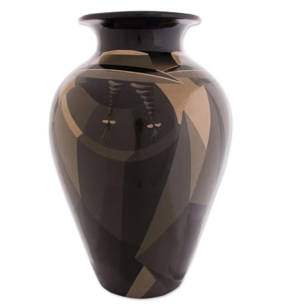 Novica Sepia Women Ceramic Vase