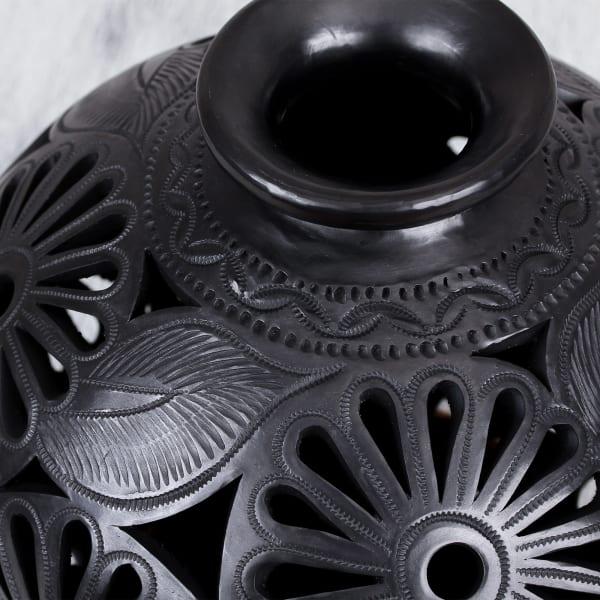 Novica Dark Flowers Ceramic Decorative Vase