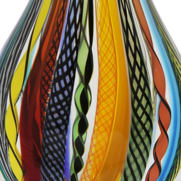 Novica Carnival Color Teardrop Handblown Art Glass Vase