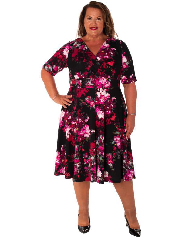 Floral Scuba V-Neck Dress - Plus
