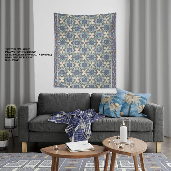 Peacock with GeoFloral Collection Sharia Geo Large Tapestry