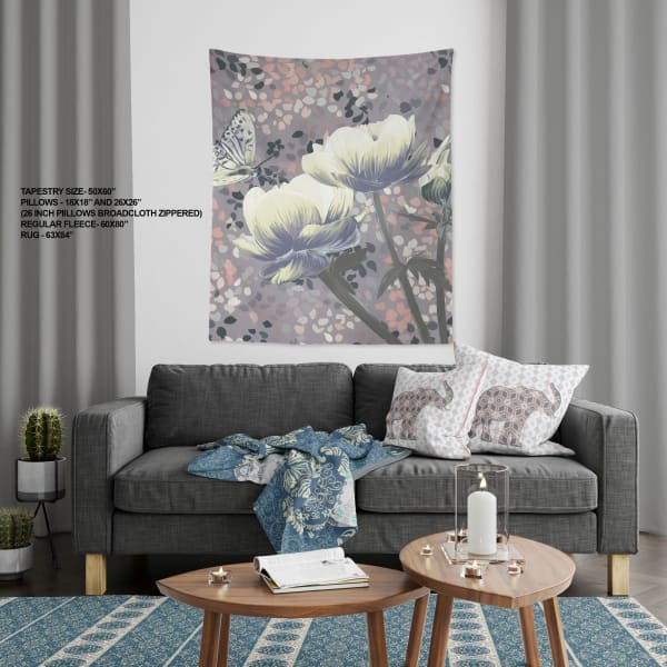 Agra Peace Tree Collection Three Roses with Butterfly Large Tapestry