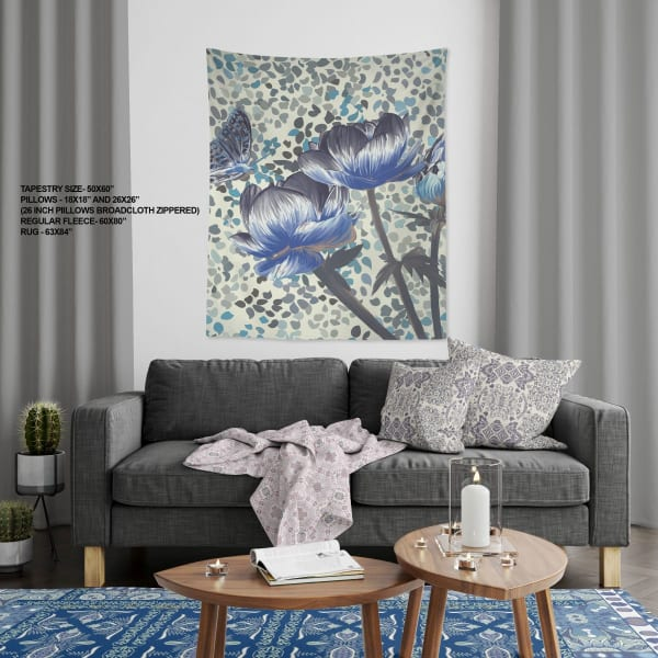 Lahore Tree with Elephant Collection Three Roses with Butterfly Large Tapestry