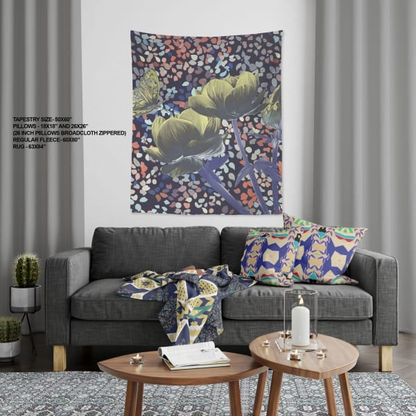 Begum Holy Peacock Collection Three Roses with Butterfly Large Tapestry