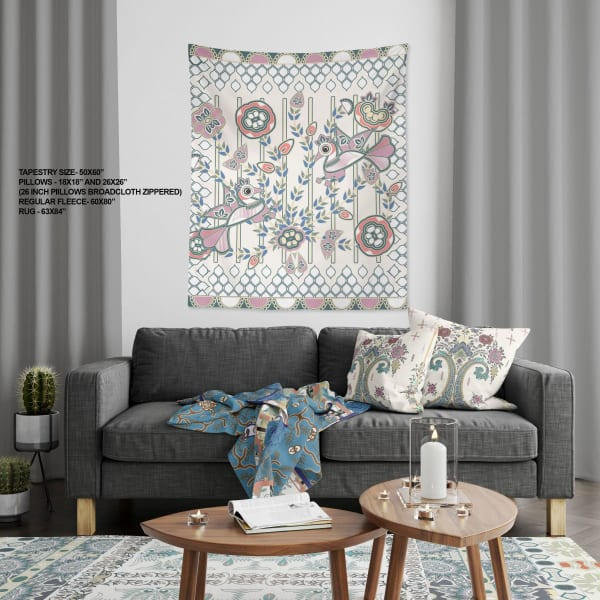 Rajput Peacock Tree Collection Pond Peacock Large Tapestry
