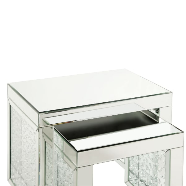 Mirrored Top and Faux Crystal Accent Silver Large Accent Table